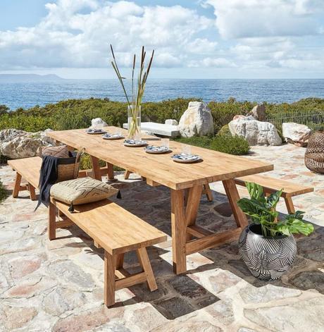table bois extérieur pour dîner banc bois maison du monde - blog déco - clemaroundthecorner