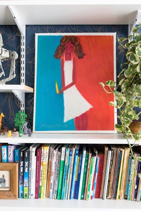 maison maximaliste bibliothèque livres tableau original - blog déco - clem around the corner