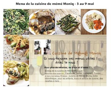 menus du 27 avril au 2 mai et du 3 au 9 mai dans la cuisine de mémé Moniq