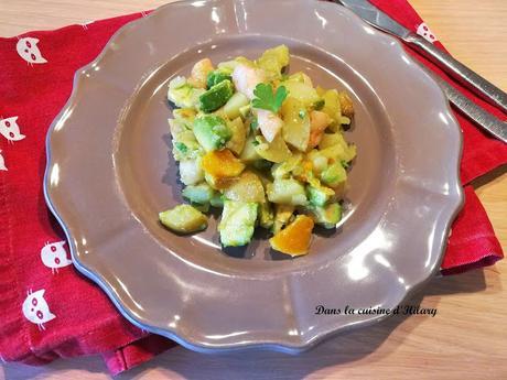 Salade de pommes de terre aux crevettes, avocats et sa vinaigrette fruitée