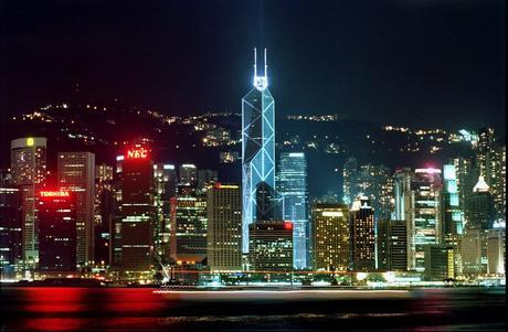 HONG KONG AND BANK OF CHINA BY NIGHT