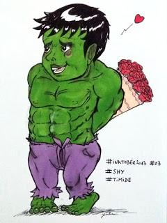 Dessin colorié Hulk est amoureux - version du inktober 2017 aux promarkers