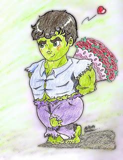Dessin colorié Hulk est amoureux - aux crayons de couleur