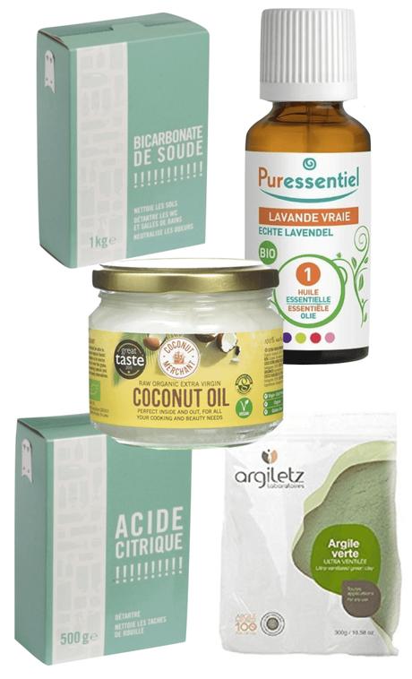 shopping liste bicarbonate de soude huile végétale acide citrique argile verte huile essentielle bombe de bain