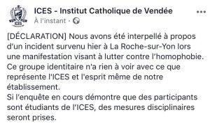 agression homophobe des bas du front de #LMPT à la Roche-sur-yon