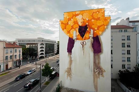 Une fresque murale gigantesque de l'artiste chilien Inti à Lyon