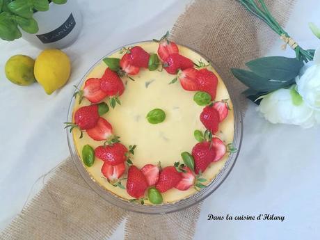 Cheesecake au citron, citron vert, basilic et fraise pour fêter les mamans