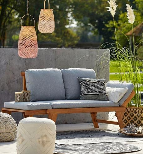 blog déco salon de jardin canapé bois coussin gris suspension rotin tie and dye rose outdoor