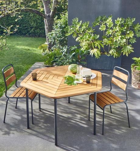 outdoor la redoute profiter de son jardin table ronde bois métal pot fleur béton