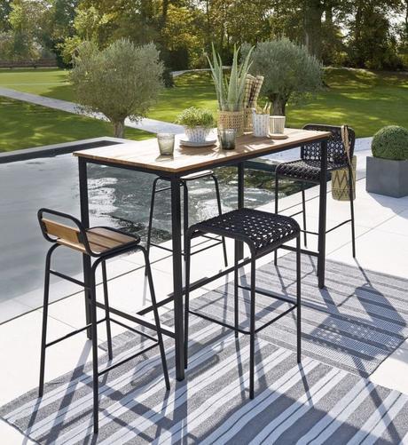 table haute de jardin en bois métal noir diner été - blog déco