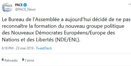 l'internationale fasciste ne passera pas… (par le Conseil de l'Europe). #AfD #Lega #FpO #RN
