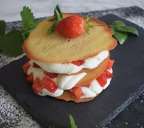 Millefeuille gourmand aux fraises et au basilic