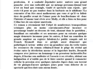 Regard vers le théâtre  – de Pierre-Marc Levergeois     « Voyage au bout de la nuit » de L F Céline-Théâtre Tristan Bernard- jusqu'au 1er Juin
