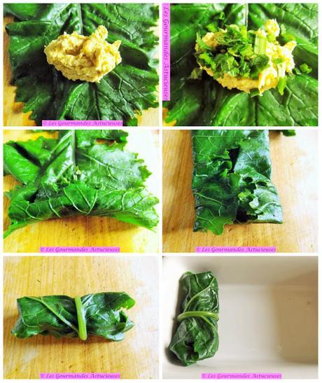 Feuilles (blette, oseille, chou) farcies au Houmos amélioré (Vegan)