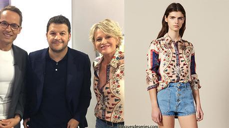 C'EST AU PROGRAMME : la chemise imprimée en soie de Sophie Davant dans l'émission du mai