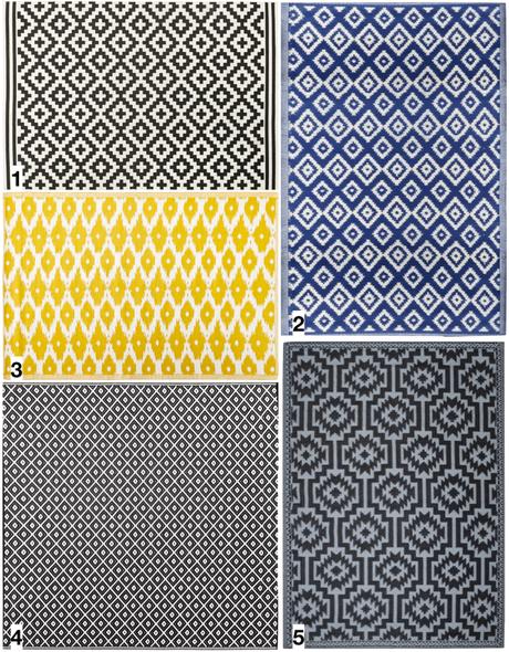 shopping liste tapis d extérieur motif graphique noir et blanc bleu jaune déco décoration