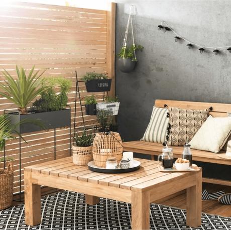tapis d extérieur pas cher style graphique noir et blanc terrasse balcon table bassebois déco décorationclematc