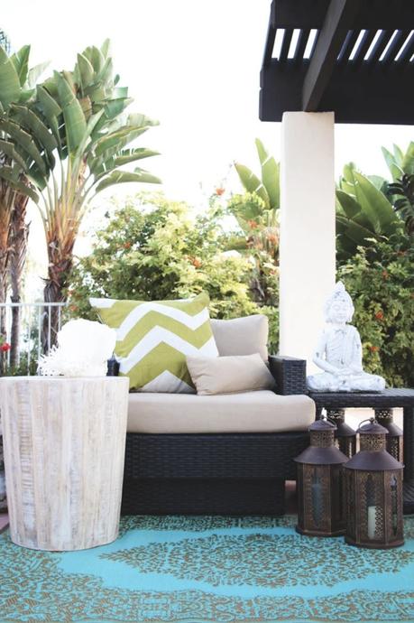 tapis d extérieur bleu style oriental terrasse tendance déco décoration clematc