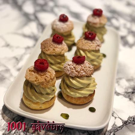 Choux pistache framboise (en étapes)
