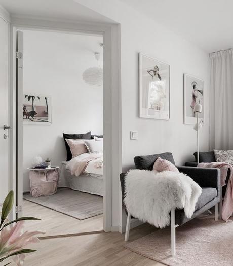 déco gris rose chambre scandinave - blog déco - clem around the corner