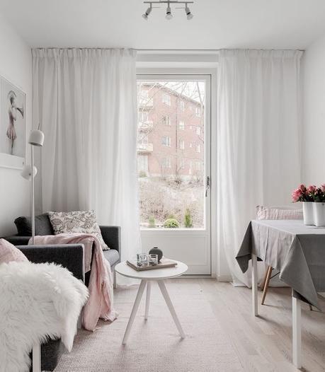 déco gris rose salon lumineux table carré - blog déco - clem around the corner