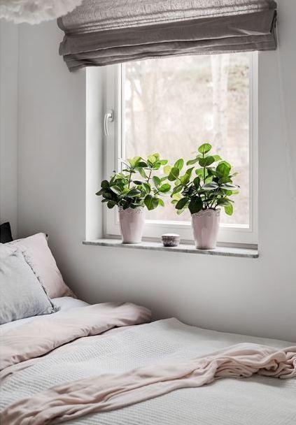 déco gris rose chambre plantes rideaux - blog déco - clem around the corner