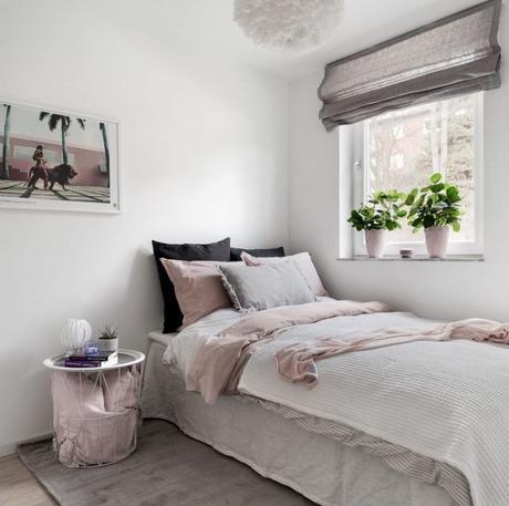 déco gris rose chambre lit simple lin - blog déco - clem around the corner