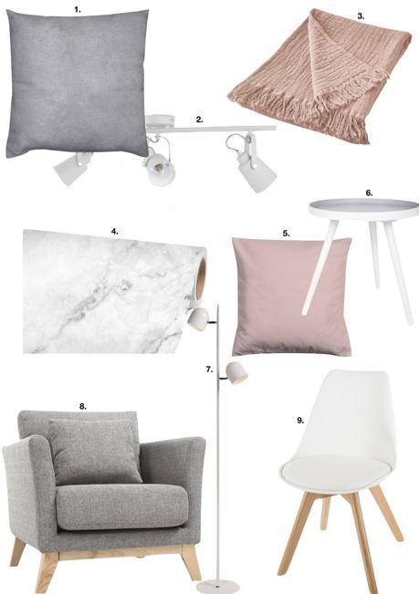 déco gris rose chaise lampadaire plaid-coussin scandinave - blog déco - clem around the corner