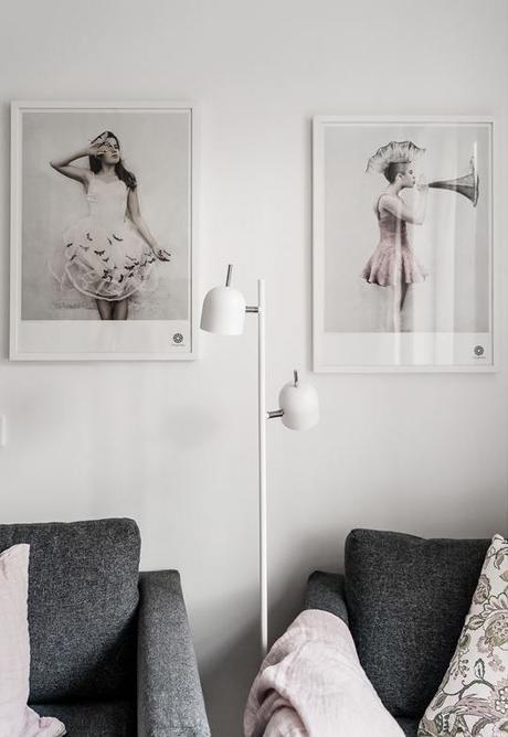 déco gris rose salon lampe rond blanc - blog déco - clem around the corner