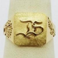 chevalière homme initiales en or