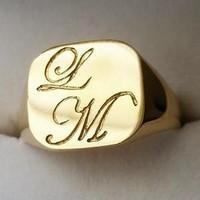 chevalière initiales en or