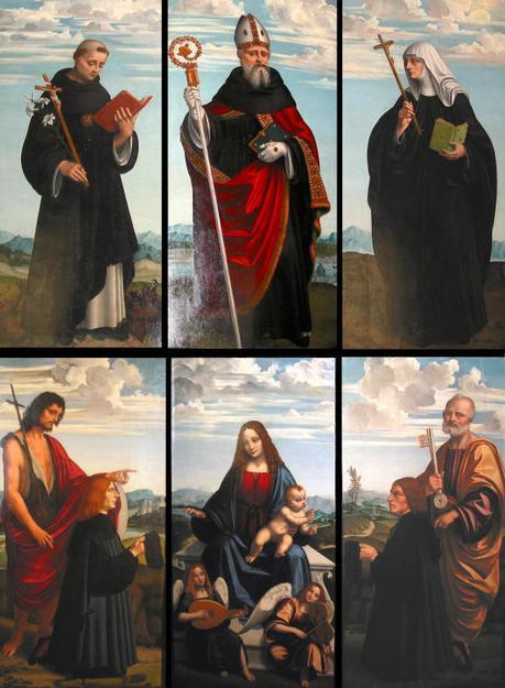 1520 ca Marco-d-Oggiono-polyptyque-Crespi-saint Nicolas de Tolentino, saint Augustin, sainte Monique Yvan-Boukef Chateau de Blois