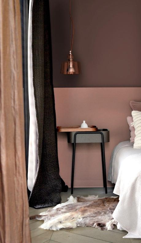 Peinture écologique avis Pure & Paint décoration chambre mur bicolore vieux rose - blog deco - clem around the corner