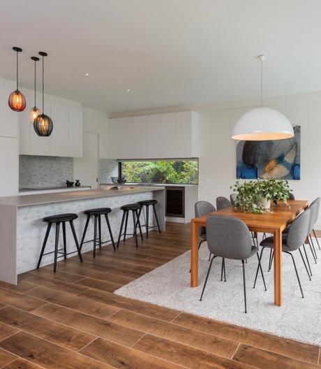 cuisine ouverte maison green écoresponsable design ilot bar parquet bois - clematc