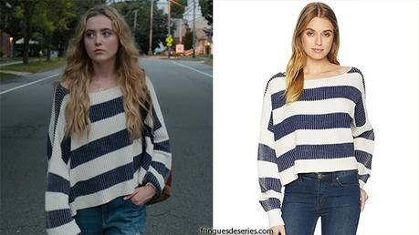 THE SOCIETY : white and blue striped sweater for Allie in s1ep2