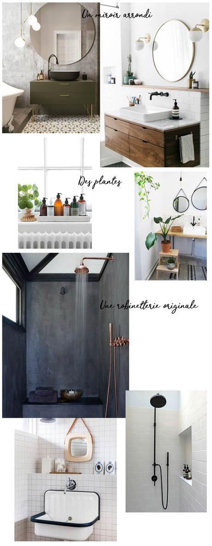 salle de bain plantes miroir rond robinetterie