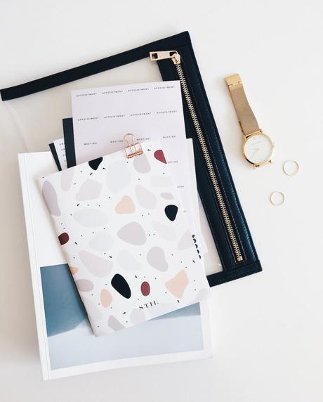 notebook rose pastel sac noir carnet clemaroundthecorner
