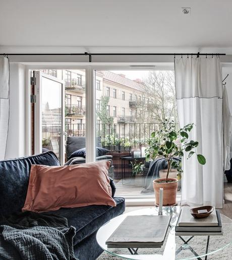 idée déco studio séjour canapé table basse verre terrasse citronnier intérieur - blog déco - clem around the corner