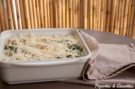 Gratin de flocons d'avoine au thon et aux épinards