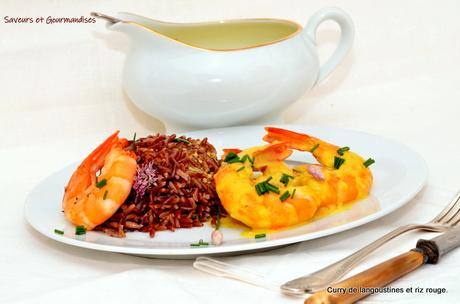 Curry de langoustines et riso rosso (riz rouge).