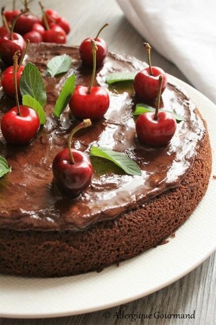 Gâteau chocolat -cerises { sans gluten, sans lait, sans œufs }