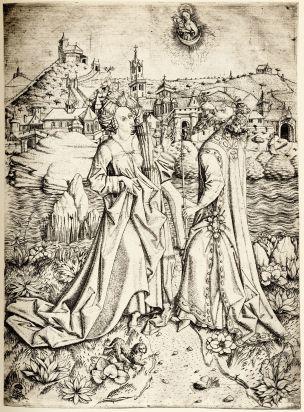 1460-67 Meister E.S. Die Sibylle von Tibur und Kaiser Augustus Kupferstichkabinett Dresden