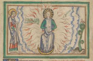 1255-60 Anglais getty museum Ms. Ludwig III 1 (83.MC.72) fol 19v Femme vetue de soleil OK