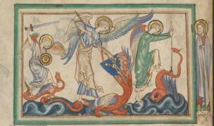 1255-60 Anglais getty museum Ms. Ludwig III 1 (83.MC.72) fol 20v The Battle between the Angel and the Dragon