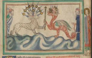1255-60 Anglais getty museum Ms. Ludwig III 1 (83.MC.72), fol 23v The Dragon Giving the Sceptor of Power to the Beas