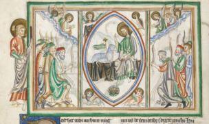 1250-1300 BL Add MS 35166 fol 10v L'Adoration de l'Agneau et du Seigneur