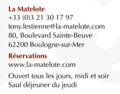 LA MATELOTE – UNE ÉTOILE MICHELIN – BOULOGNE-SUR-MER
