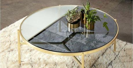 stanley coffee table coffee table smoked rippled glass and brass