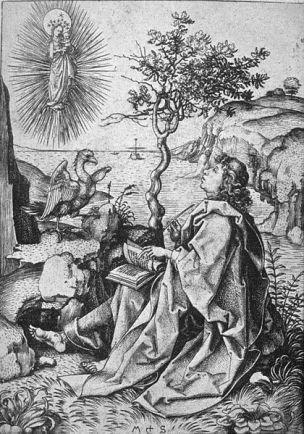 1475-80 Martin_Schongauer_-_Johannes_auf_Patmos