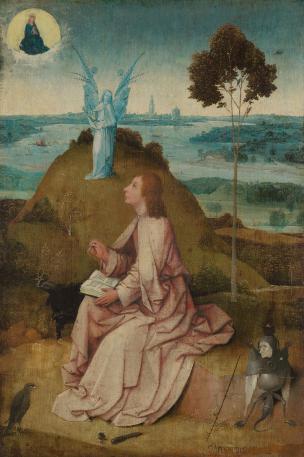 1490-95 Bosch Saint_John_on_Patmos_Berlin,_Staatlichen_Museen_zu_Berlin,_Gemaldegalerie_HR